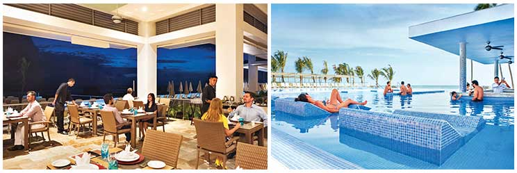 (Left) Theme based barbecue restaurant Saute'at RIU Sri Lanka; (Right) Enjoy beverages at the poolside bar Flamingos