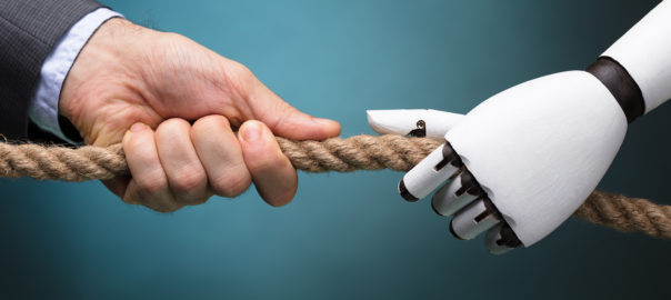 Businessperson And Robot Playing Tug Of War On Colorful Background