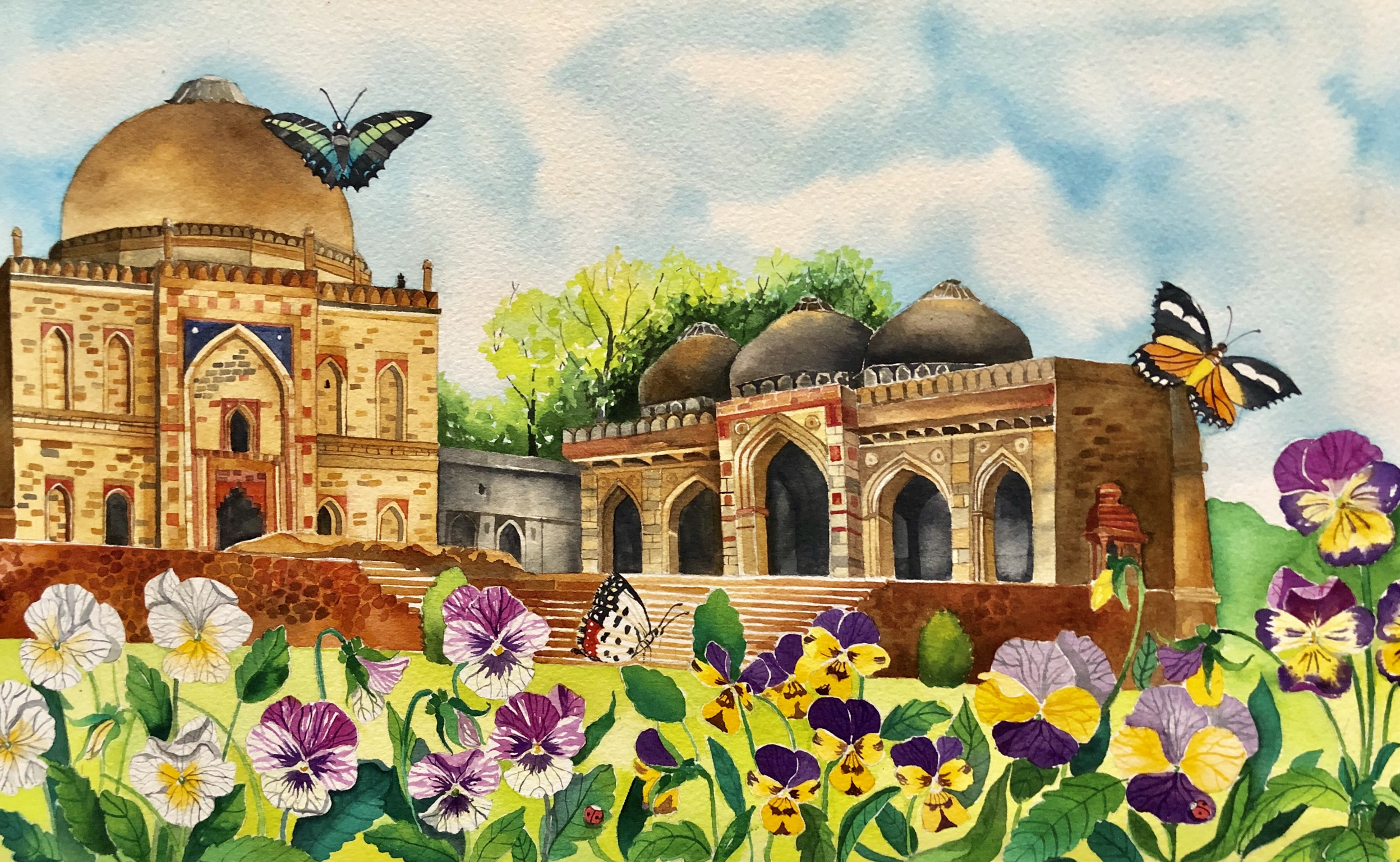 The painting depicts spring in the Lodhi Garden of Delhi. It was accompanied by an Urdu couplet by famous poet, Mit Taqi Mir