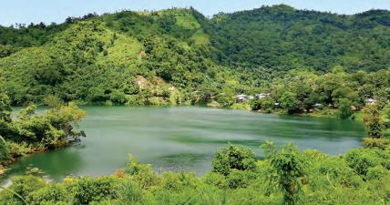 Boga Lake in the hill district of Bandarban, Chittagong Hill Tracts is famous for the local tribal village of Bawm