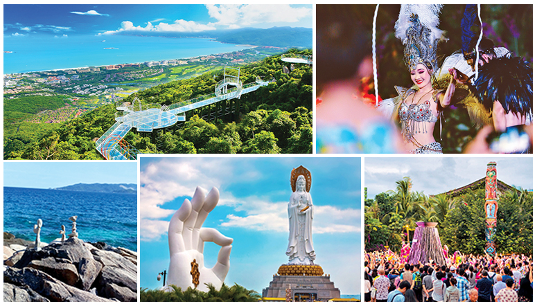 Clockwise from top left: Top view of the glass pathway & stairs at Yalong Bay Tropical Paradise Forest Park; Performers entertaining the audience at Sanya Romance Park; Crowd enjoying the promenade and waiting to enter the romance show; The Nanshan Buddha standing by the South China Sea; Buggy tour of the Wuzhizhou Island