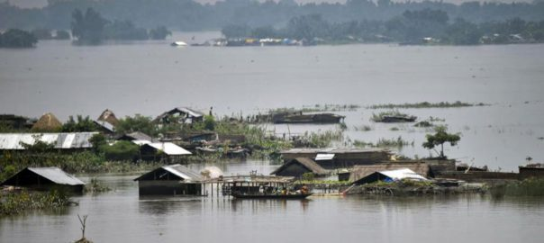 A submerged village in flood-affected Assam