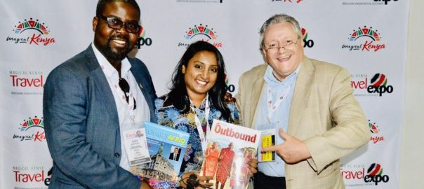 Kojo Bentum-Williams, Publisher of VoyagesAfriq, Christine Nayagam, Director of Media India Group (publisher of India Outbound Magazine) and Prof. Dr Wolfgang, founder of ATC News, entering a partnership at the Magical Kenya Tourism Expo 2019 in Nairobi.