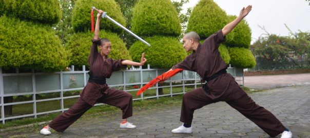 Practice with the traditional weapons