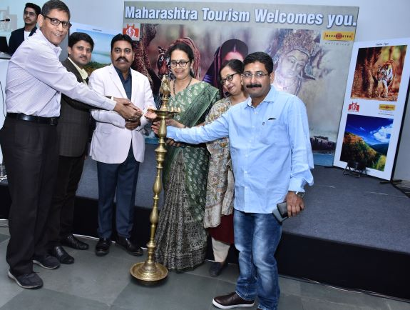 Dilip Gawade, IAS, director, Directorate of Tourism, Govt of Maharashtra along with other dignitaries during the inauguration of road show of Maharashtra Tourism in Kolkata.