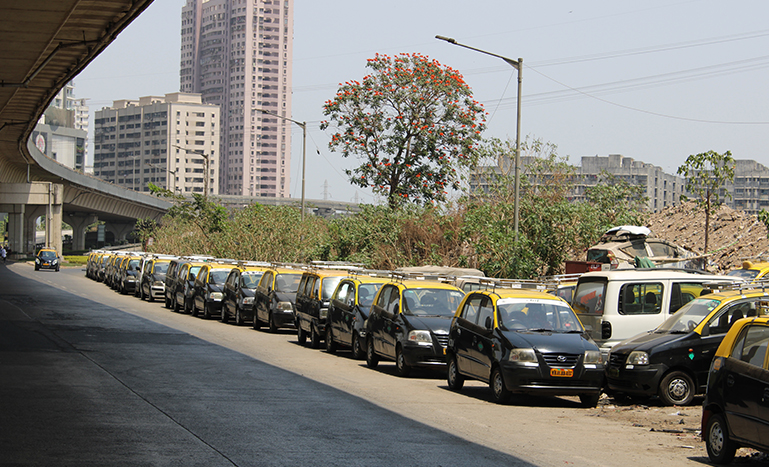 Taxis lined up on the streets of Wadala, in central Mumbai  (MIG photos/Varsha Singh)