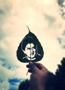 Shahrukh Khan art on leaf