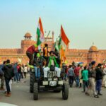 farmers protest at red fort