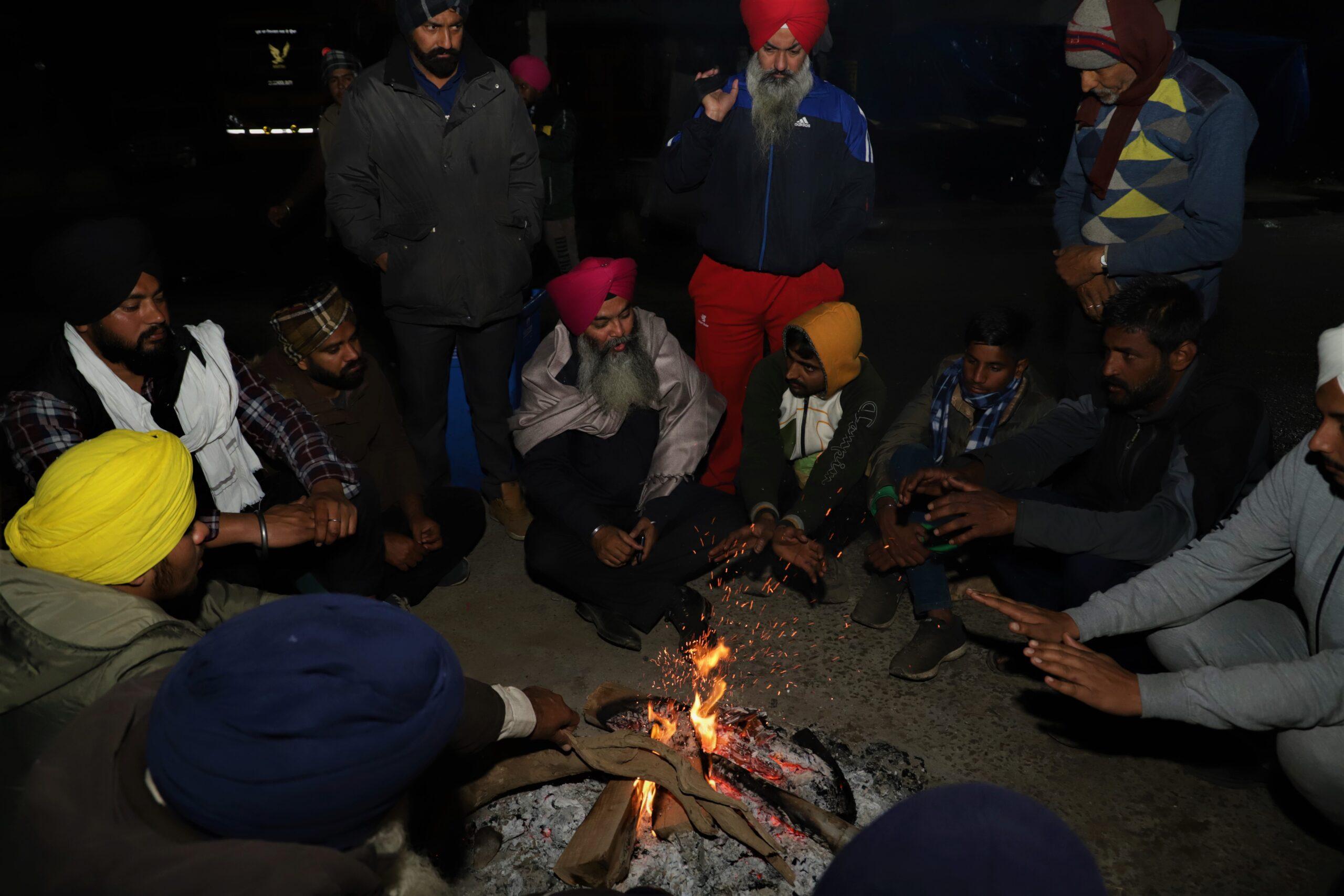 A silent yet spirited night at Singhu border