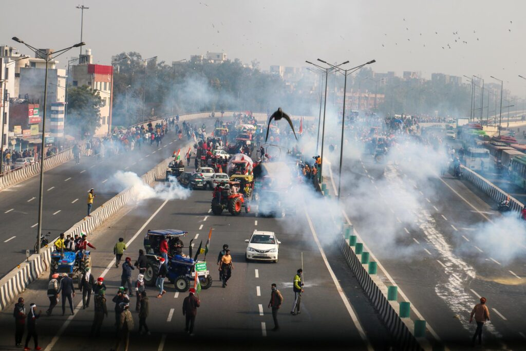 tear gas at tractor rally