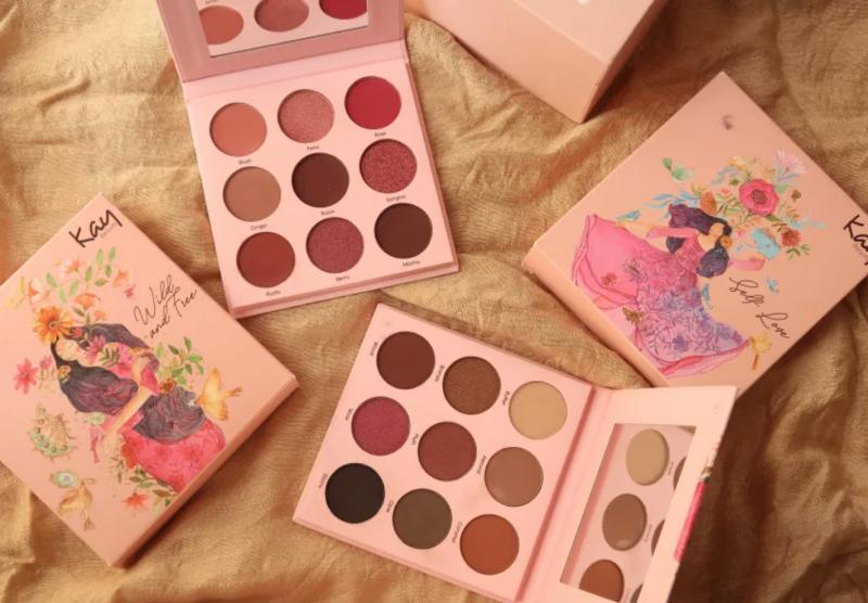Sharma's flowy, colourful designs on Kay Beauty eyeshadow palettes – 'Wild & Free' and 'Self-Love'